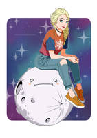 Elsa on the moon being a hipster by j-kyuu