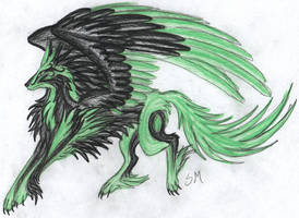 Green and black wolf by fantasi-dragen
