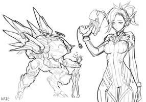 D.va mercy Rough sketch by Haje714