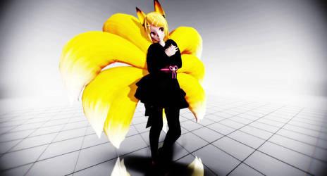 MMD TDA Rin Kagamine Nine Tailed Fox by JukoTheLilFox