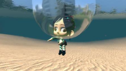 Derpy swimming Vanellope by emmanu888
