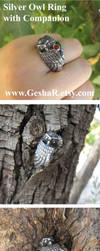Owl Ring with a Companion by GeshaR