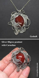 Large Silver Filigree Pendant with Carnelian by GeshaR