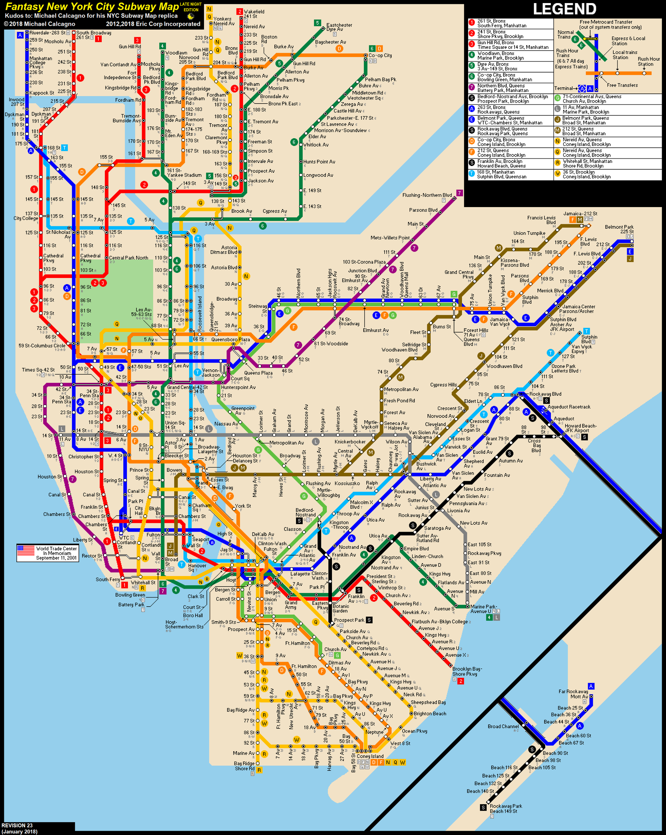 N Subway Map.Nyc Subway Fantasy Map Revision 23 Late Nights By Ecinc2xxx On