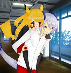 Lugia carrying Pikachu by Neko-lolita-mimiko12