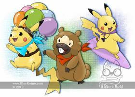 Special Pikachu and a Bidoof by bluekoinu