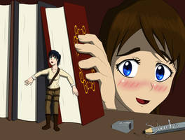 Hider in the Bookcase by Shardro