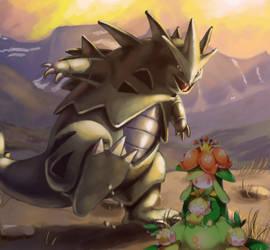 Tyranitar and Lilligant by SpUnKyMoNkEy214z