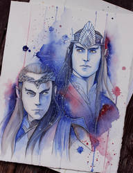 Elrond and Elros sketch by Kinko-White