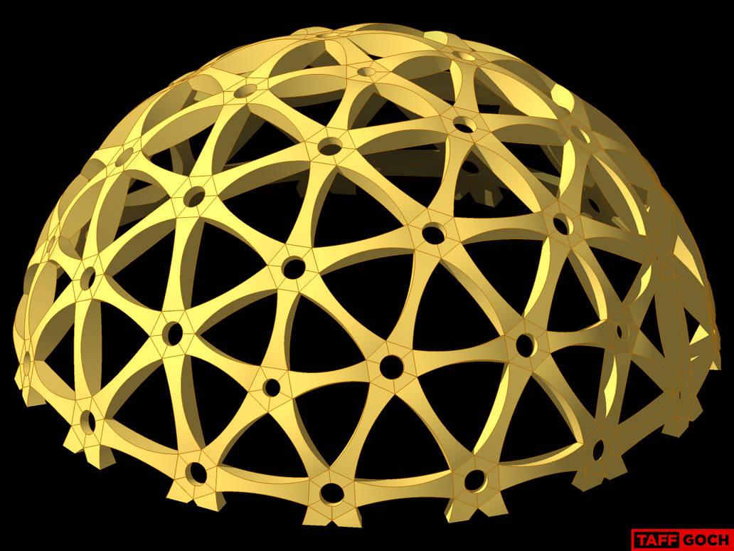 Curved-Fold Cardboard Geodesic Dome by TaffGoch