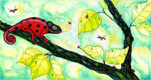 chamaeleon visit ladybugs by dragonflywatercolors