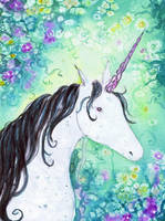 Unicorn by dragonflywatercolors