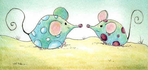 mouses fall in love by dragonflywatercolors