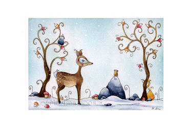 little fawn by dragonflywatercolors