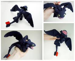 Toothless Dragon: crochet amigurumi doll by tinyAlchemy