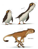Porg/Fathier creature redesigns by shoomlah