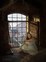 Girl in white dress next to window by AlexandraDante