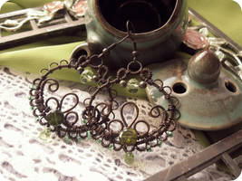 Wire Wrapped Filigree Copper Hoops with Chrysolite by Lirimaer86