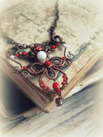 Red and White Gothic Necklace by Lirimaer86
