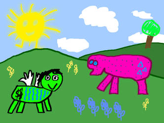 the scene sky grass animal by Zetanor