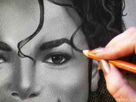 Michael - Charcoal WIP close up by secrets-of-the-pen