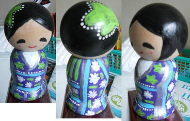 Tropical Kokeshi Doll by Froggy-Spaztastic