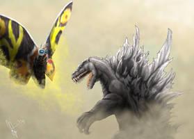 Godzilla vs. Mothra by Tankor89