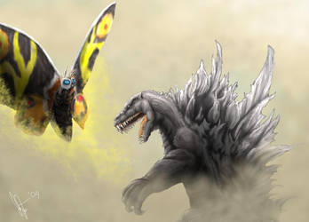 Godzilla vs. Mothra by Tankor89
