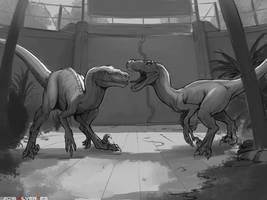 Two raptors by SilverTES