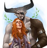 Comm: Thorn Lavellan and Iron Bull by sashajoe