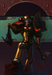 ArtTrade:BloodAngel holding a Slaanesh Marine head by saint-max