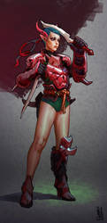 Girl in Red Armor by saint-max