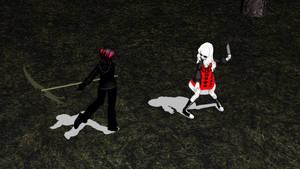 MMD Creepypasta OC - Shadow Collin Vs NM Ally by Stormtali