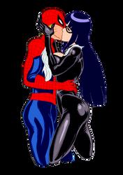 Naruhina Spidey Blackcat Kiss by DrunkenShinigami