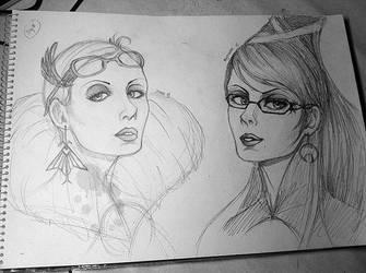 Bayonetta and Jeanne sketch by ButterflyInMaze