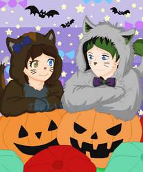 Halloween Kitties: Melissa and Will by TheTARDISMistress