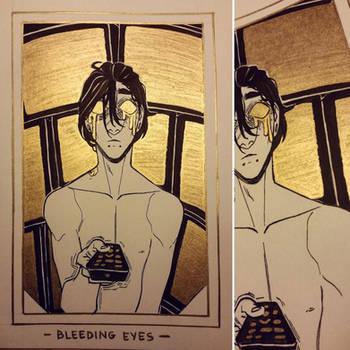 Ink/GrossTober Raffle: 3 Bleeding Eyes by GoldenTar
