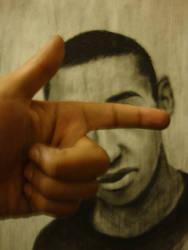 Self portrait in charcoal by KikButtPanda