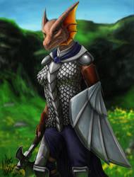 Kavarra Dragonborn Warrior by Tidma