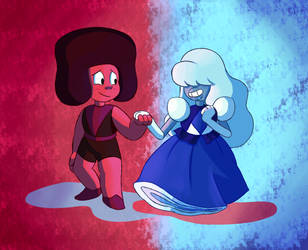 Steven Universe: Ruby and Sapphire by tootsietucan