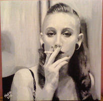 Sexy Woman Smoking Painting by HopeChahine