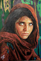 Afghan Girl National Geographic Painting by HopeChahine