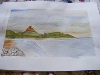 Bamburgh castle - watercolour by Heatherag