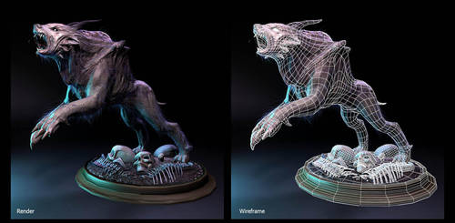 Hell Hound Wireframe and Render by AuDreee