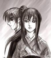 battousai and tomoe sketch by hakubaikou