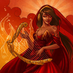 Spirit of the Firebird Harp by JessiBeans