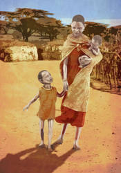 African Mother and Her Son by NeaN
