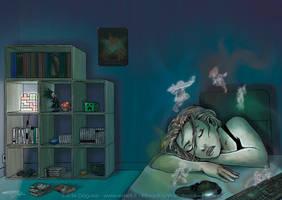 Gamer girl falls asleep by RevanRayWan