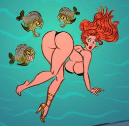 Burglary Gone Wrong - Debra in the Piranha Tank! by Hot-Buns-Beauties