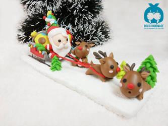Merry Christmas - Santa set clay handmade figure by Booshandmadeshop